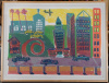 Limited edition downtown L.A.  lithograph by FRANK ROMERO