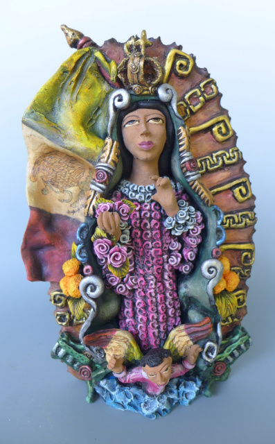 "Our Lady of Guadalupe sculpture by JOSE JUAN GARCIA AGUILAR  11 1/2"" tall"