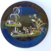 "Vintage black Tlaquepaque charger w/dogs 13 1/2"" diam."